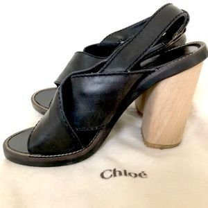 Chloe Crossover Dark Brown/Black Leather Sandal.